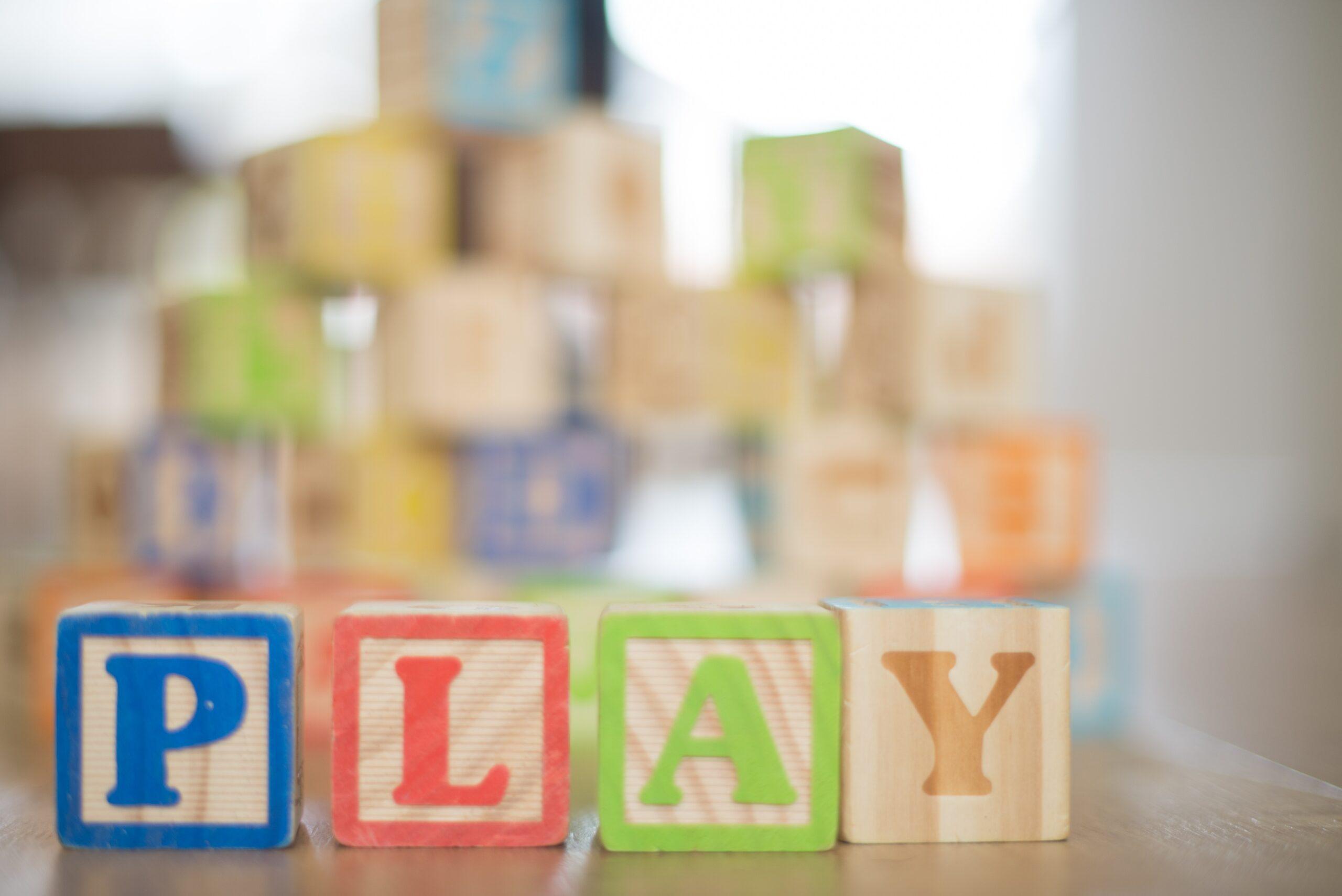 kids blocks spelling the word PLAY